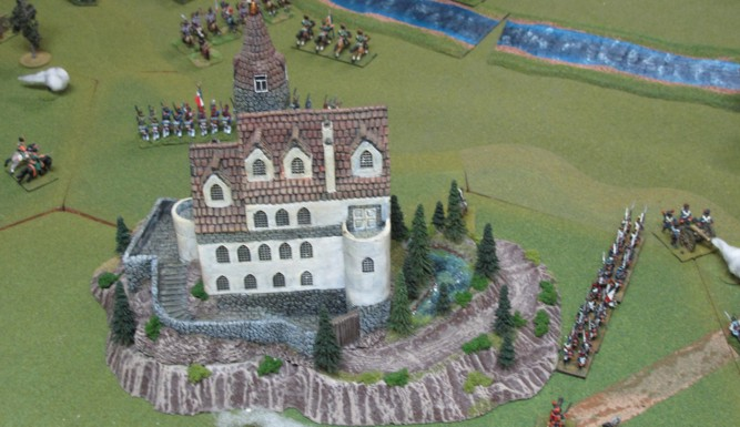 """Custom base was built for the 15mm """"castle""""  complete with small lake!"""