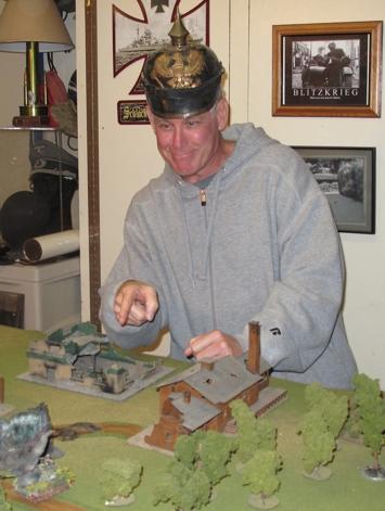 Steve wears an authentic WWI helmet for the battle...opps! wrong war!