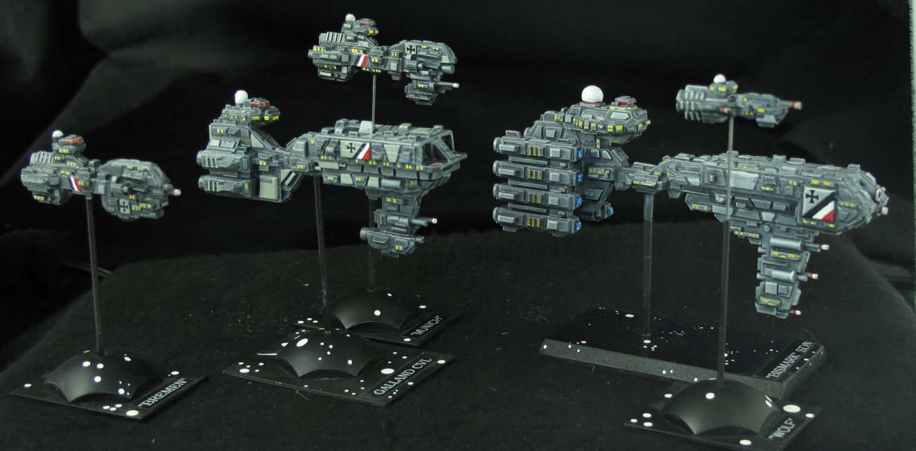 "Part of my German ""Imperial Space Fleet"" Ships from Ground Zero Games"