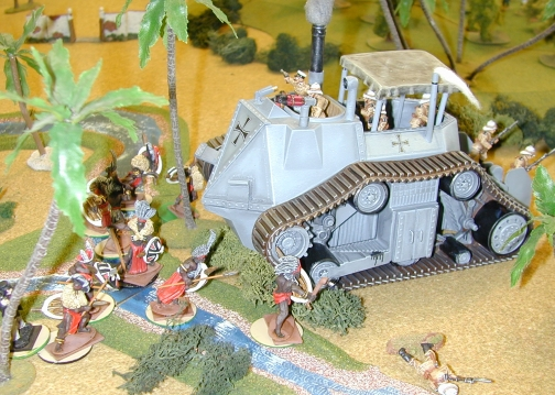 A very brave group of natives take on a Prussian Land-Ship somewhere in Darkest Africa!