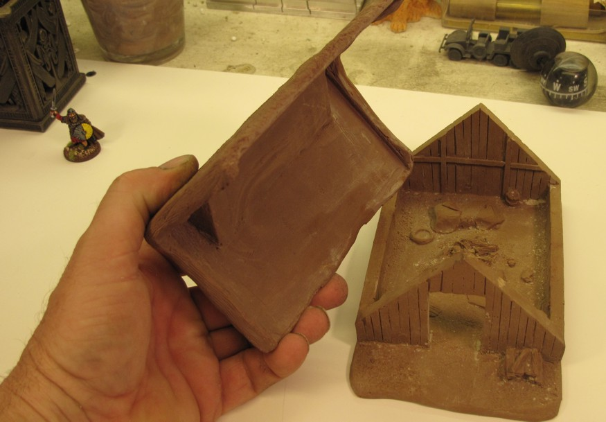 """The buildings as I got them off """"ebay"""" the original owner had just given then a once over with brown paint...."""