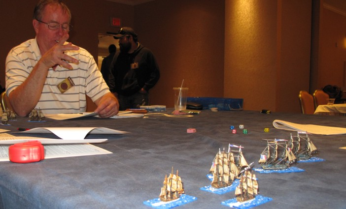 """Robert Boyens always one of the """"rocks"""" at conventions showed up to run his """"Signal, Close Action"""" wargame. Looked mighty nice and would have loved to try it!"""