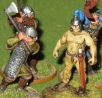 Christian had a very nicely painted Anglo Dane Warband and they can fight!